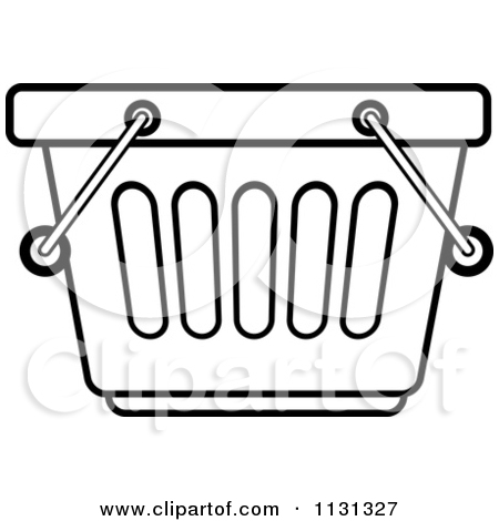Clipart of a Silver Shopping Basket Icon.