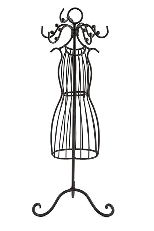 Mardel Wire Dress Form Jewelry Stand, Metal, Black, 14 x 14.