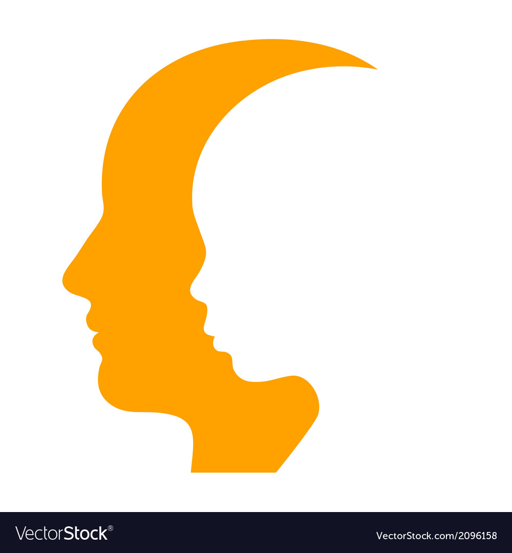 Man and Woman Face Profile Silhouette.