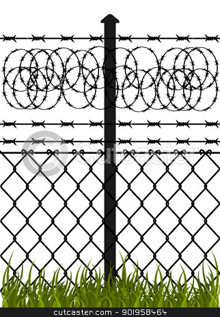Mesh wire fence clipart #10