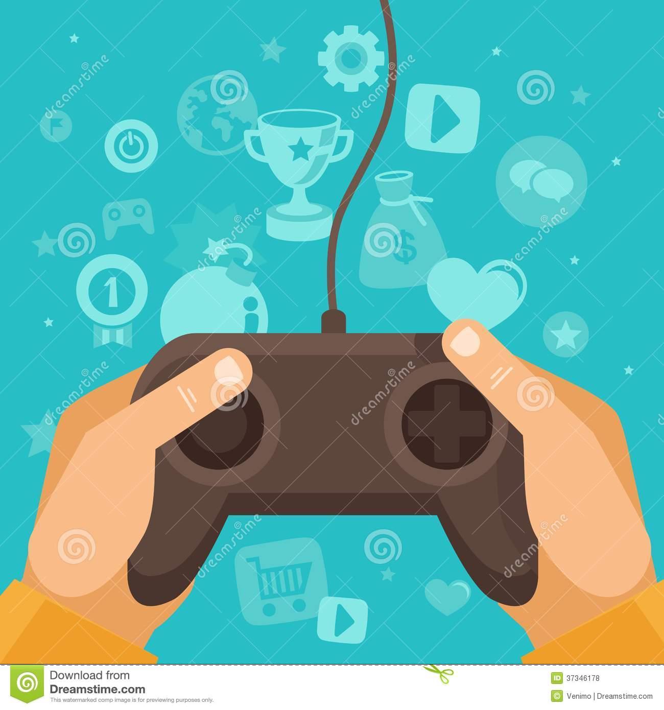 Vector Online Game Concept Royalty Free Stock Photos.