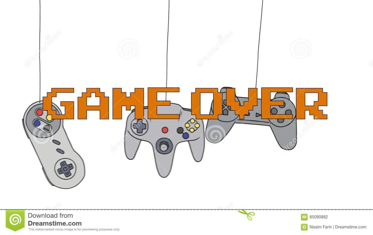 GAME OVER On Different Joysticks Background Hanging On Their Wire.