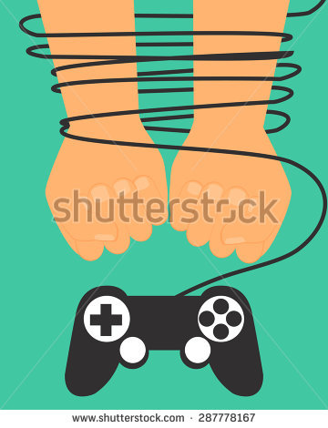 Game Dependence Concept. Hands Tied By Wire Game Controller.
