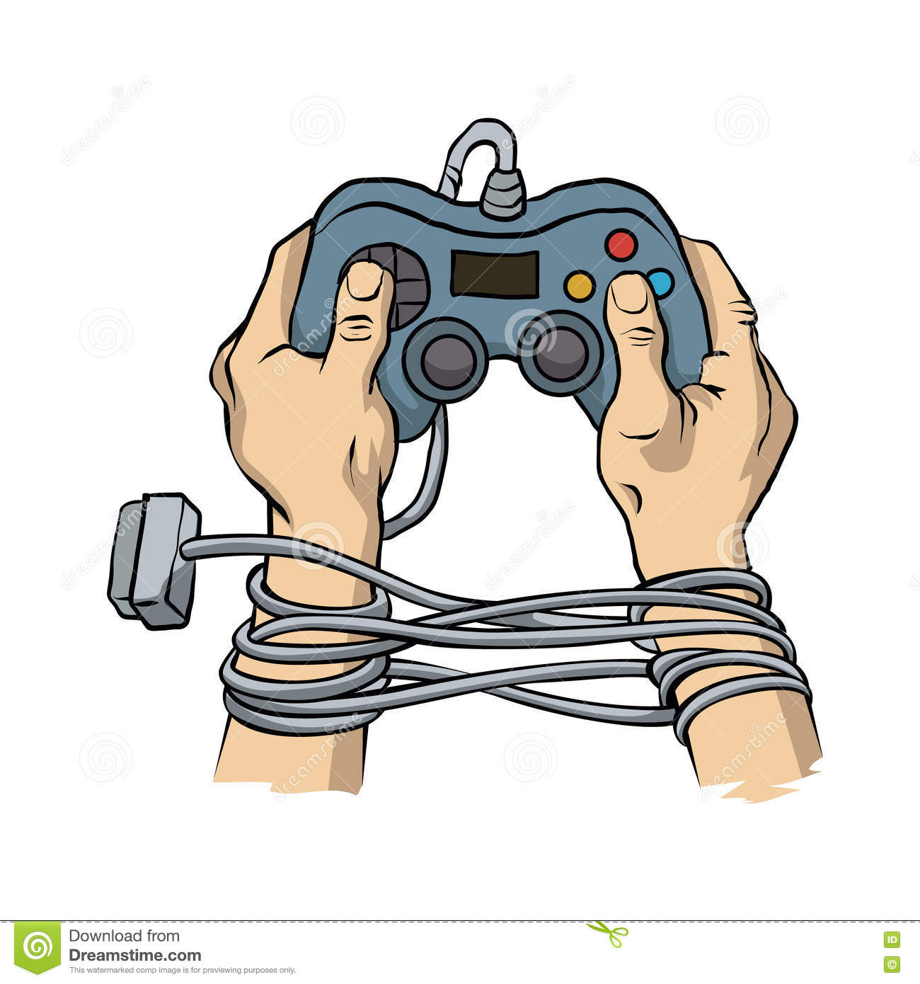 Hands Tied By Wire Game Controller. Game Dependence Concept. Stock.