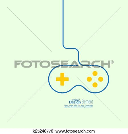 Clip Art of Game background wire and joystick. k25248778.