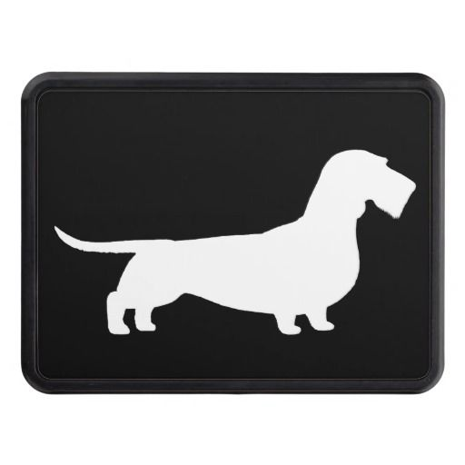 Wire Haired Dachshund Silhouette Trailer Hitch Cover.
