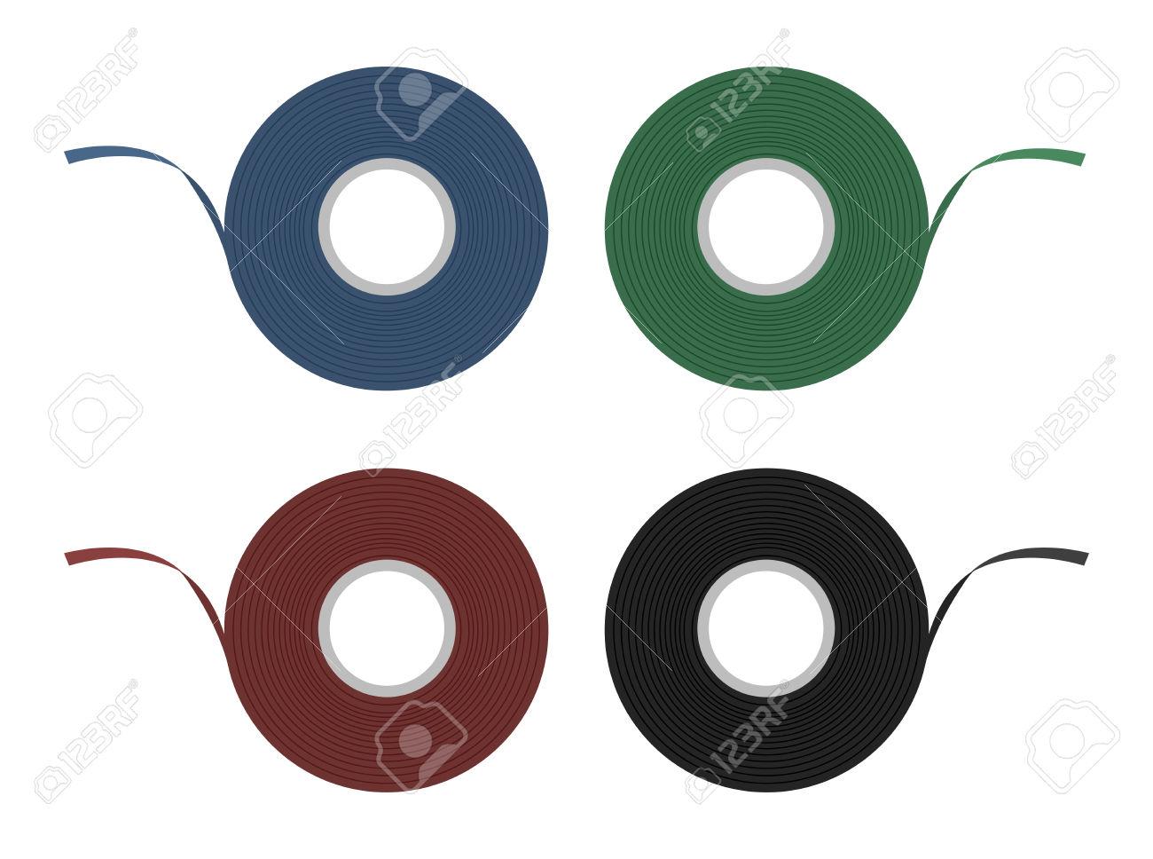Blue, Green, Red, Black Insulation Scotch Tape Set. Color Clip.