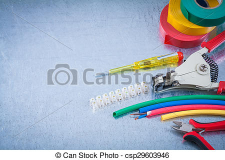 Stock Photo of Block clamp nippers strippers insulation tape wire.