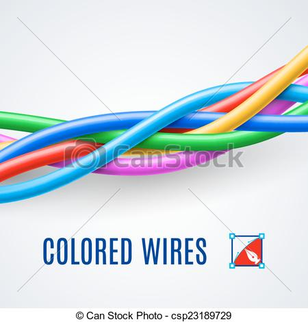 Vector Illustration of Interwoven plastic wires or cables in.