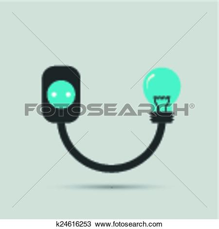Clipart of Electric wire light bulb and plug. Vector design.