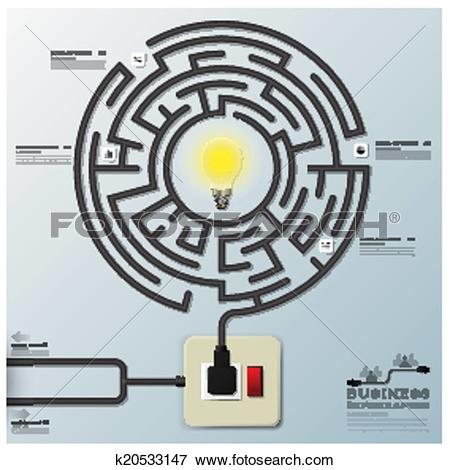 Clip Art of Maze Light Bulb Electric Wire Line Business.