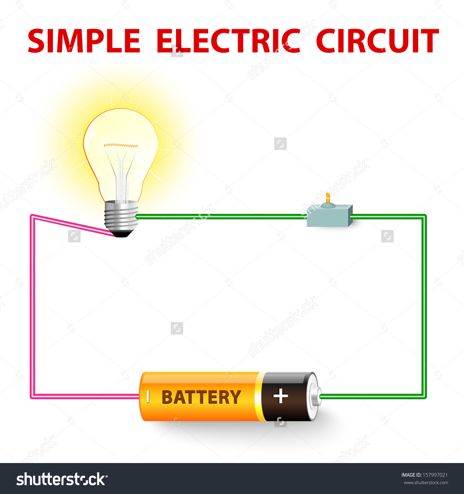 Wire Light Clipart Clipground Switch Outlet Wiring As Well Electrical Simple Electric Circuit Network Stock Vector