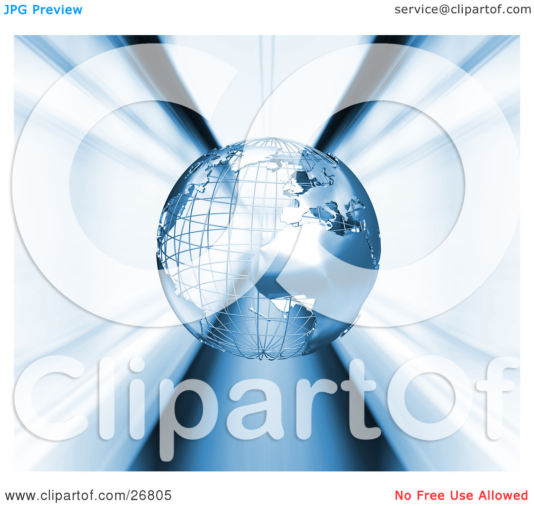 Clipart Illustration of a Metal Wire Frame Earth Globe Rushing.