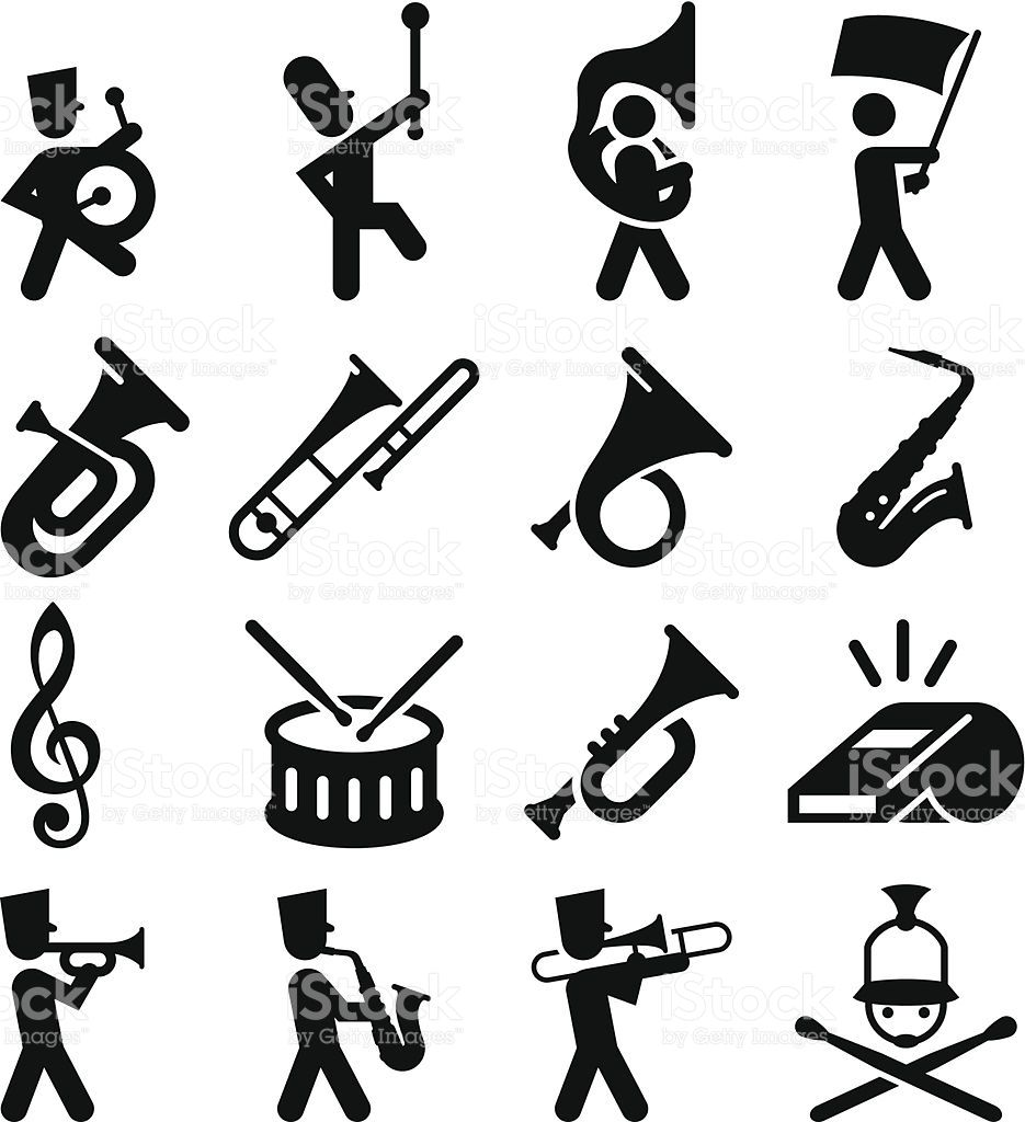 Marching band icons. Professional clip art for your print or.