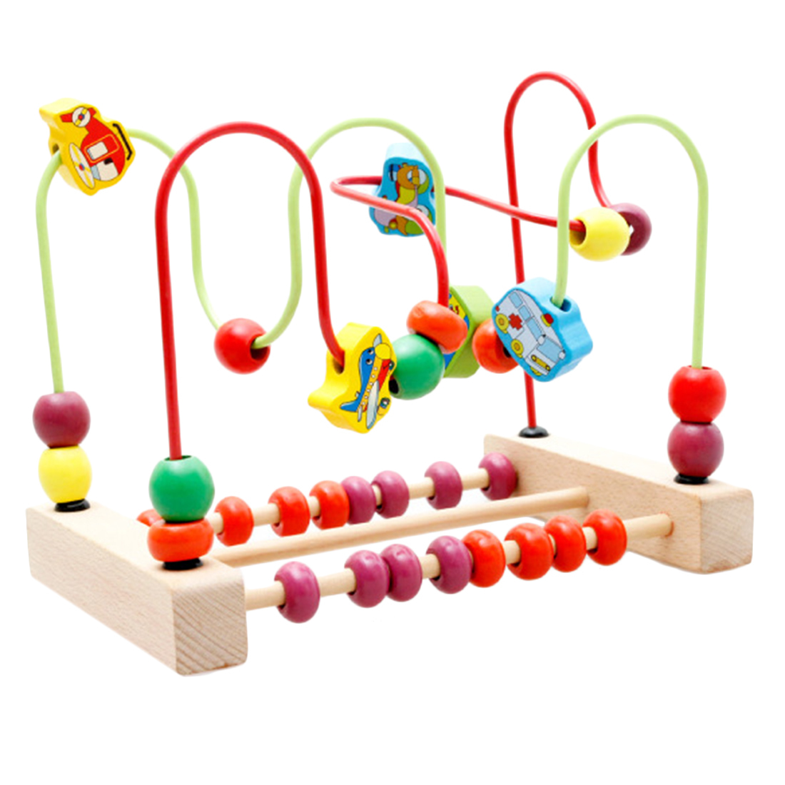 360DSC Counting Traffic Bead Wire Maze Roller Coaster Wooden.