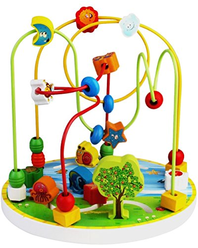 CraftDev Wooden Rosary Shape Beads Wire Maze Roller Coaster Toy.