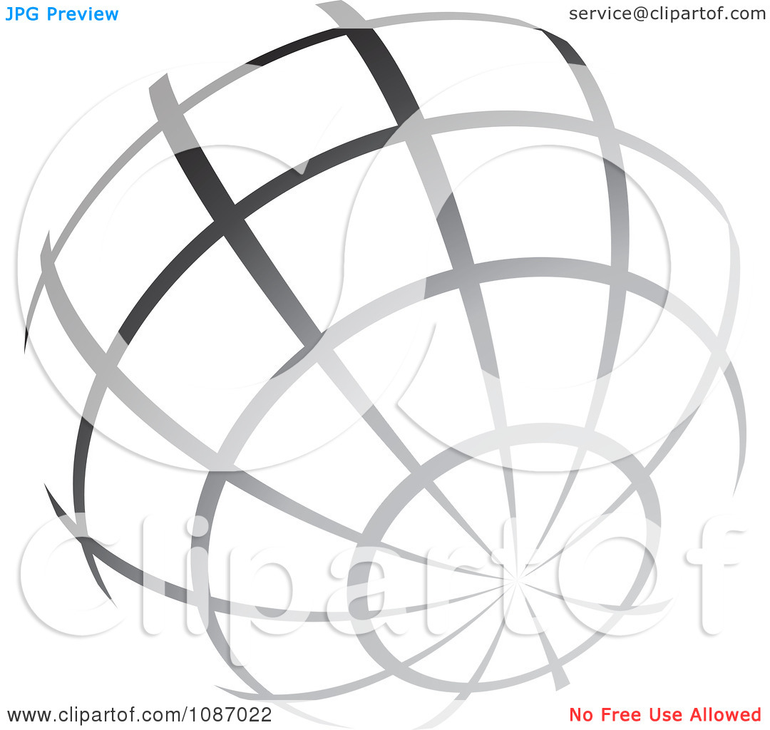 Clipart Gradient Gray Wire Globe.
