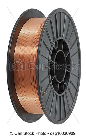 Pictures of Copper wire on spool, isolated on white backgrounds.