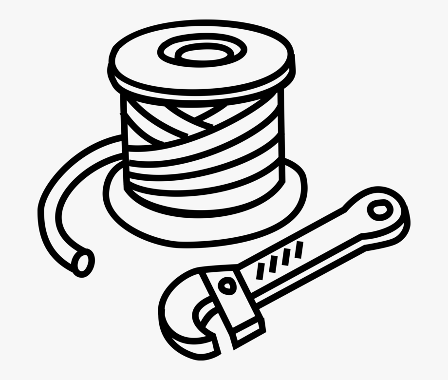 Vector Illustration Of Roll Or Spool Of Wire And Wire.
