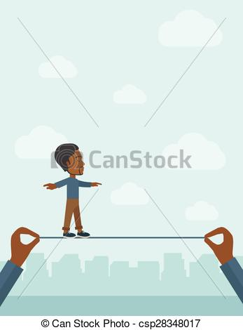 Vector Clip Art of Black Businessman walking on wire..