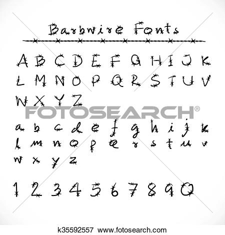 Clip Art of Barbed Wire Alphabet and Fonts.Number alphabet.