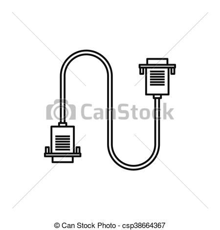 Clip Art Vector of Cable wire computer icon, outline style.