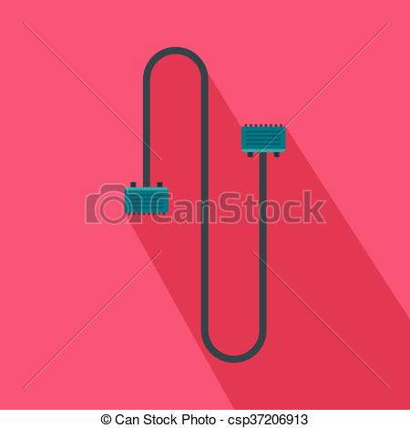 Vector Clip Art of Cable wire computer icon, flat style.