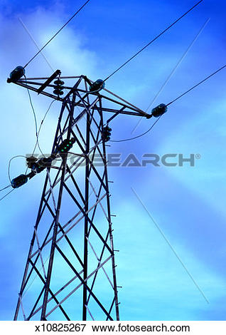 Picture of Low angle view of high tension wires across a pole.