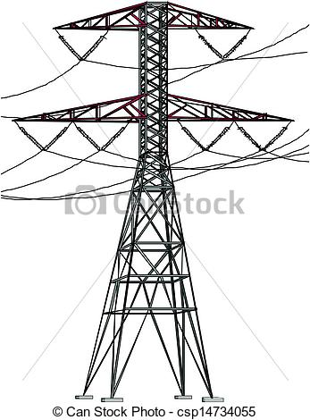 Clipart Vector of High Tension Power lines csp14734055.