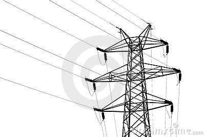 Transmission Tower With High Voltage Wires Stock Images.