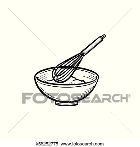 Mixing bowl with wire whisk hand drawn sketch icon Clipart.