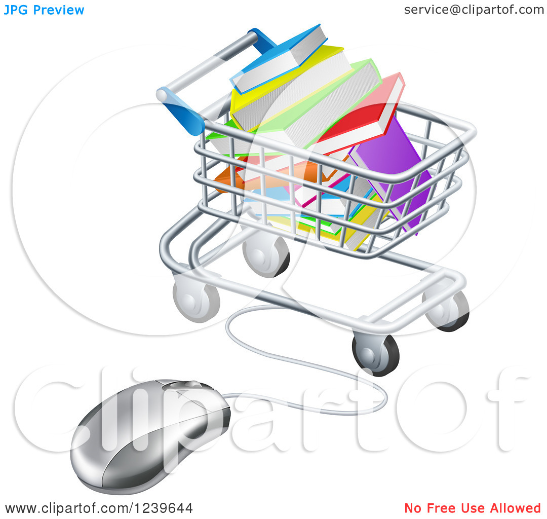 Clipart of a Shopping Cart Full of Books, Wired to a Computer.