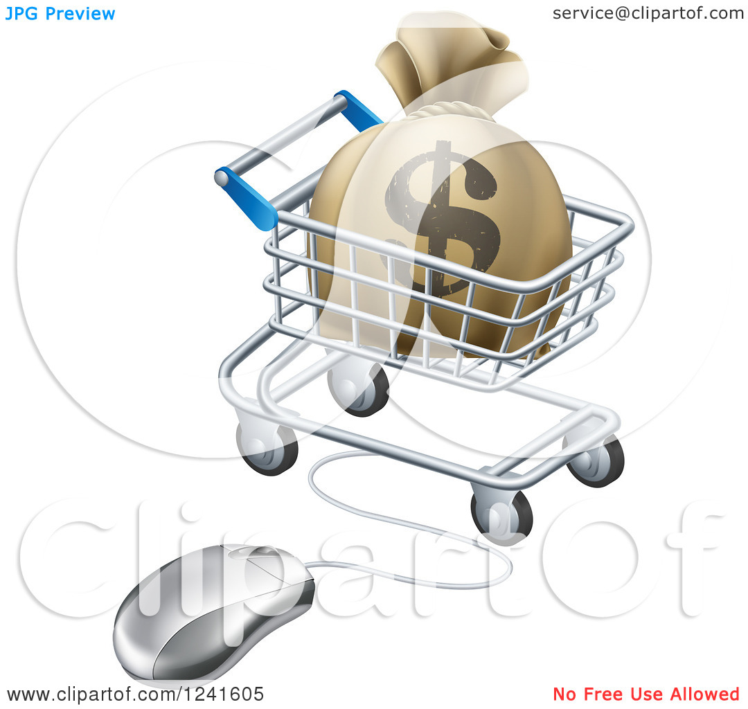 Clipart of a 3d Dollar Money Bag in a Shopping Cart Wired to a.
