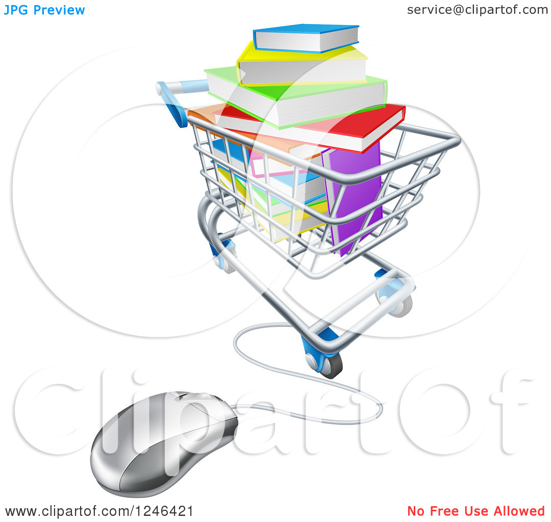 Clipart of 3d Books Piled in a Shopping Cart Wired to a Computer.