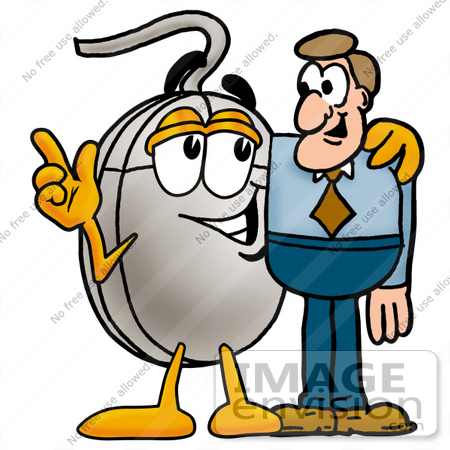 Clip Art Graphic of a Wired Computer Mouse Cartoon Character.
