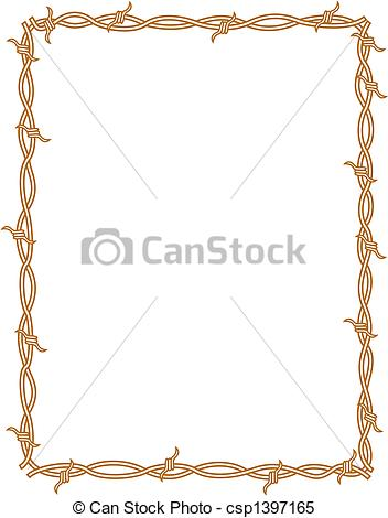 Clipart Vector of Barbed wire border frame background clip art.