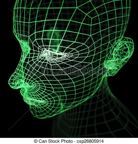 Clipart of Green Wireframe Human Head Mode.