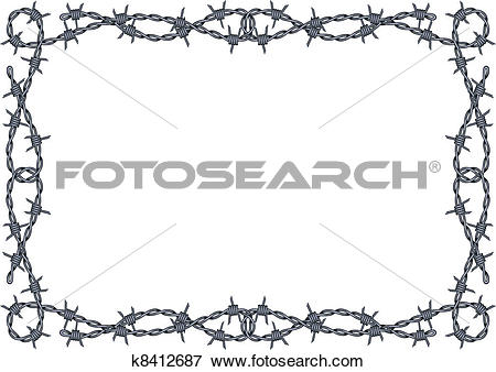 Clip Art of barbed wire frame vector k8412687.