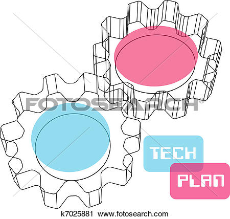 Clipart of Gear wireframe 3D technology plan concept k7025881.
