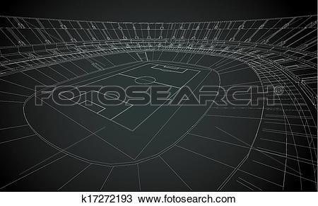 Clipart of 3D wireframe of stadium k17272193.