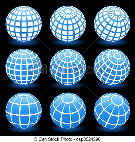 Vector Clipart of globe wire frame symbols.