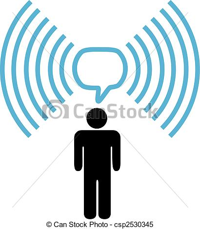 Clipart Vector of Wifi symbol man talks on wireless network.