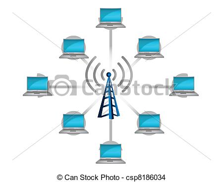 EPS Vector of wireless network connection concept illustration.
