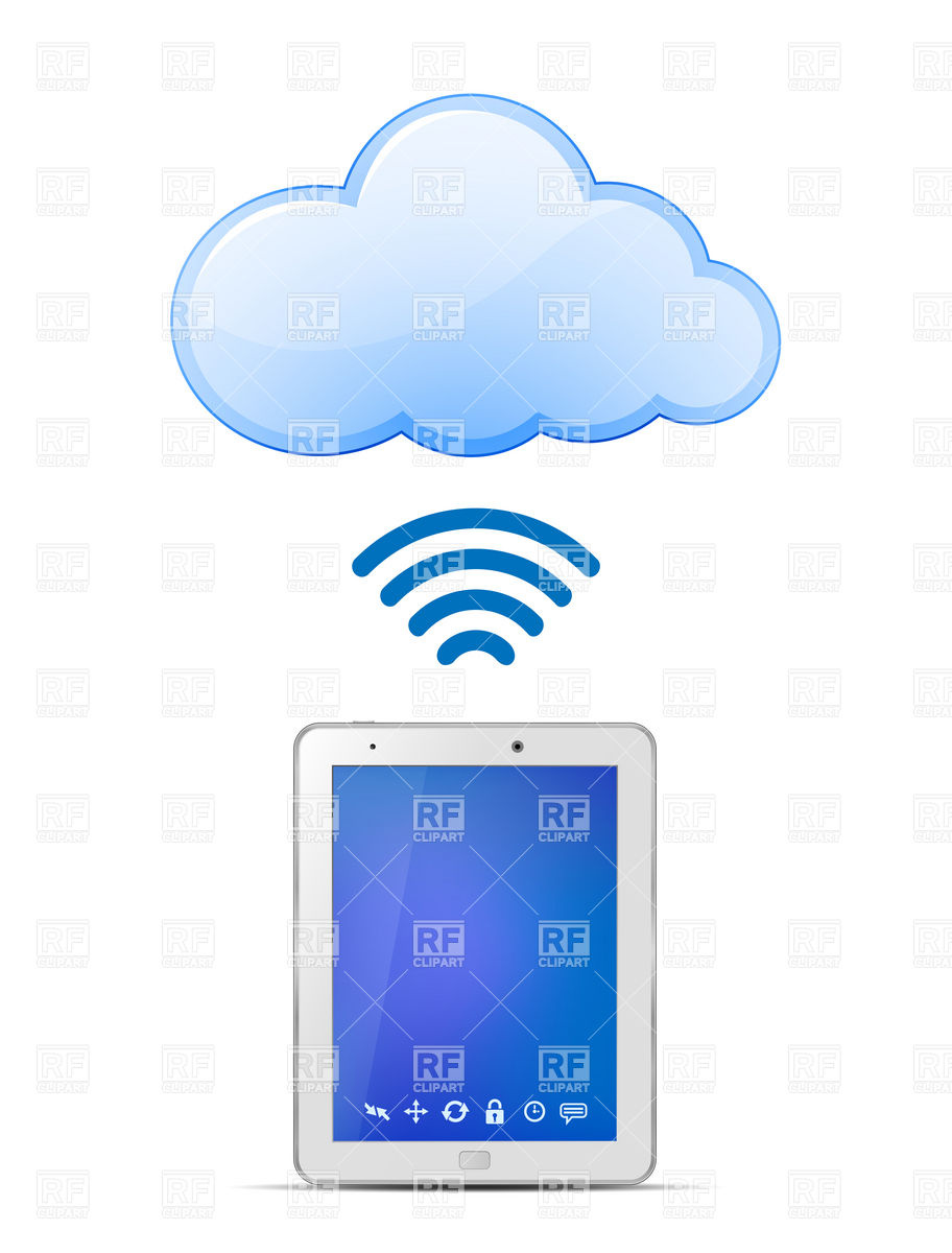 Tablet PC and Cloud computing wireless technology Vector Image.