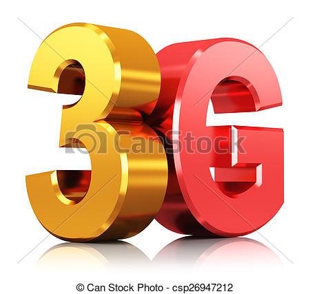 Clipart of 3G wireless technology logo.
