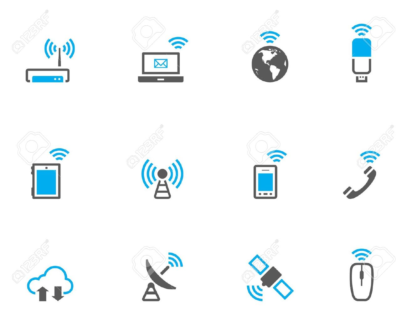 Wireless Technology Icon Set In Duo Tone Color Style. Royalty Free.