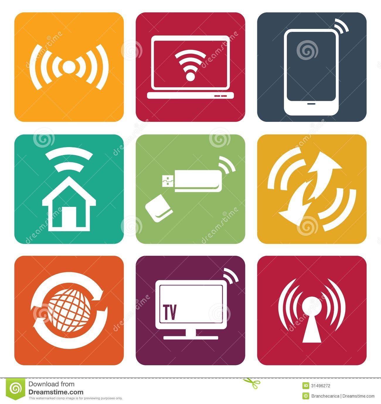 Wireless Technology Web Icons Set Stock Photography.