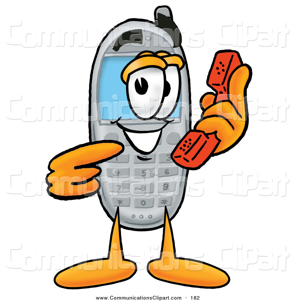 Communication Clipart of a Cute Wireless Cellular Telephone Mascot.