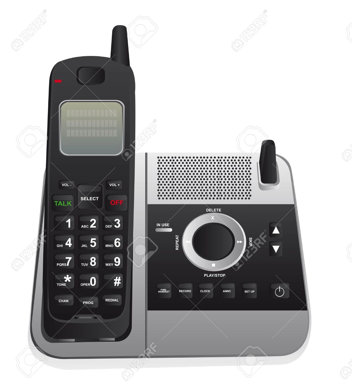 Cordless Phone Isolated Over White Background. Vector Royalty Free.