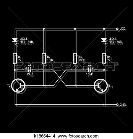 Clipart of wiring diagram for electronics eps10 k18664414.